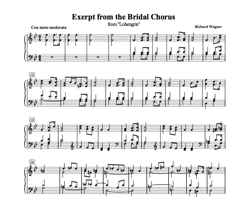 Bridal Chorus Here Comes The Bride Free Piano Sheet Music The