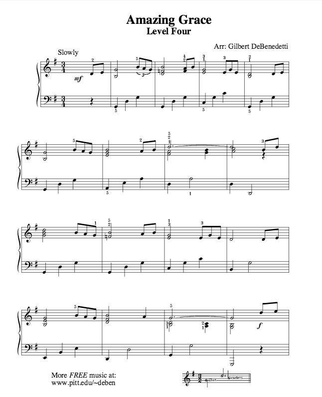 Amazing Grace Free Piano Sheet Music With Lyrics: Free Beginner And Easy Piano Sheet Music