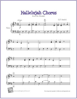 hallelujah chorus handel free easy piano sheet music digital the piano student - Hallelujah Christmas Version