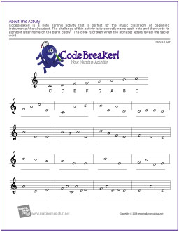CodeBreaker! Free Note Naming Worksheets – the piano student