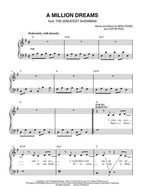 A Million Dreams Greatest Showman Easy Piano Sheet Music Lyrics And Video The Piano Student